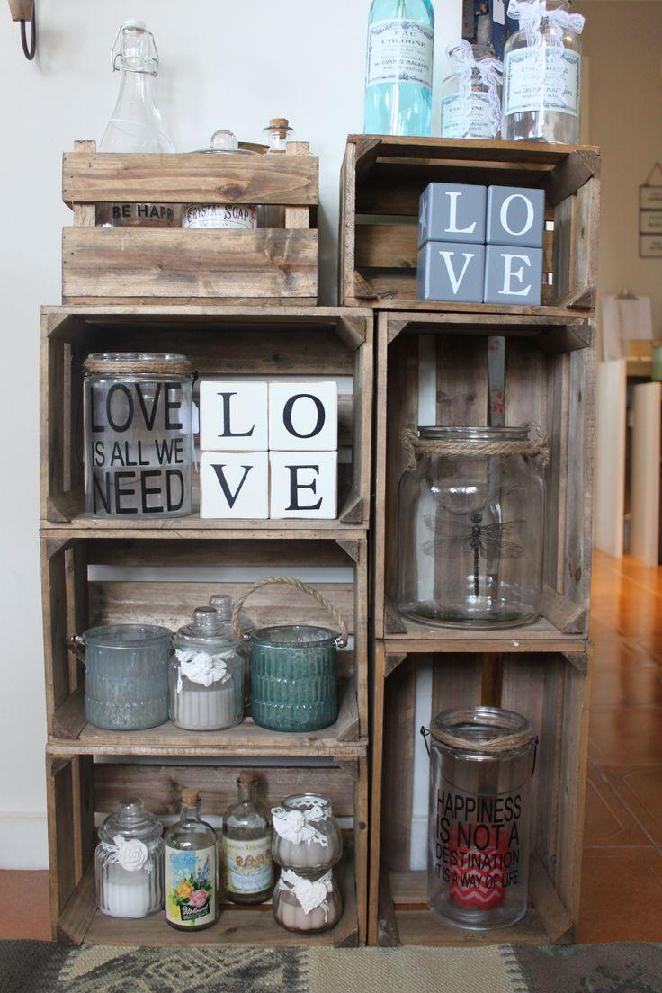 Cajas de madera decoracion industrial - Cajas madera decoracion ...