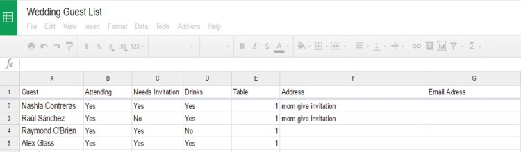 wedding list draft